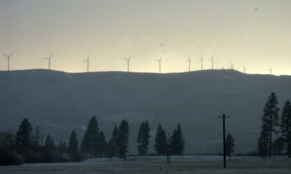 wind turbines, snowing