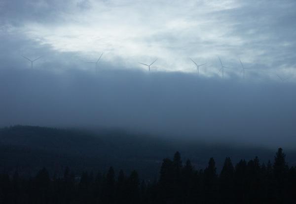 wind turbine, clouds, forest