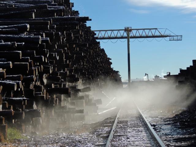 Logs, sawmill, mist, rails, crane