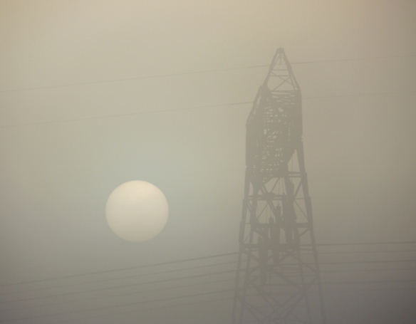 sun, fog, tower, electrical tower, photograpy