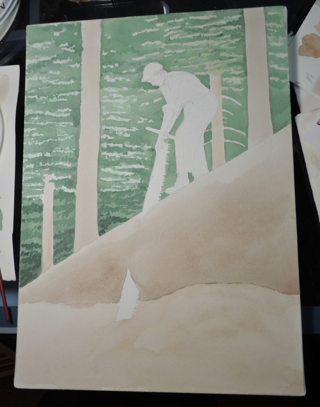 watercolor, watercolour, logging, bucking, logs, painting, saw, crosscut saw, misery whip