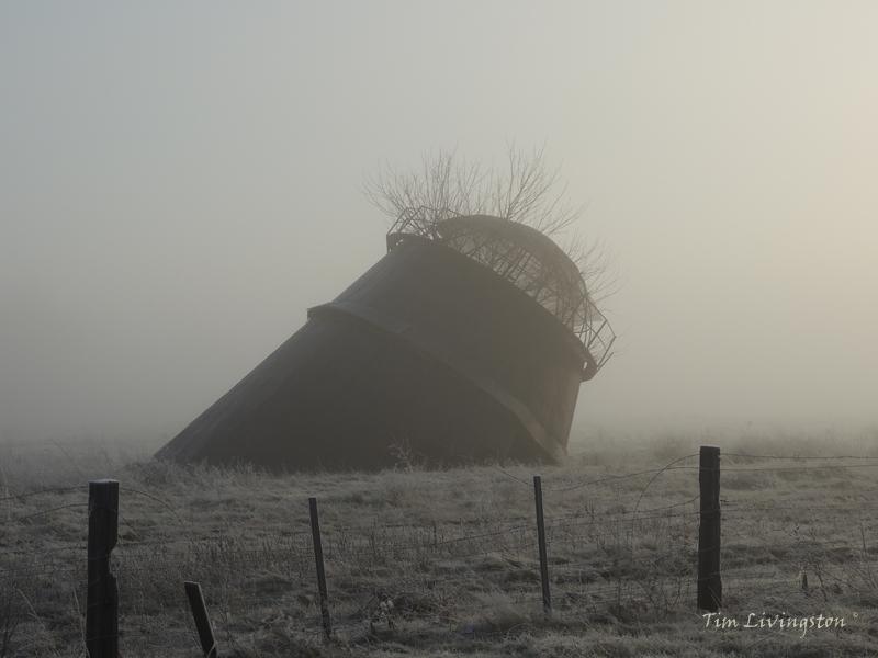 Mist, tepee burner, lumber, sawdust, photography