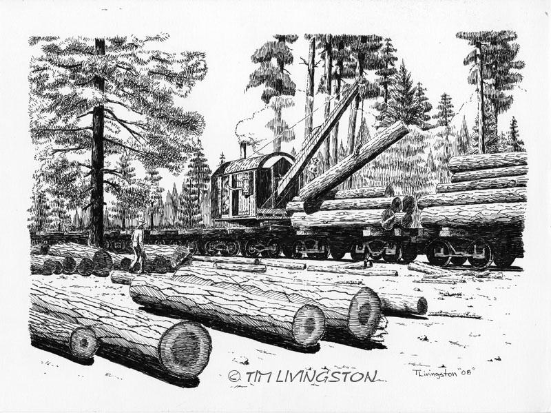 Barnhart Log Loader, Loader, Barnhart, Pen and Ink, logging, art
