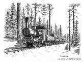 Steam engine, pen and ink, historic logging, Sierra