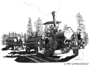 Best Traction Engine, traction engine, pen and ink, logging, old time, logs