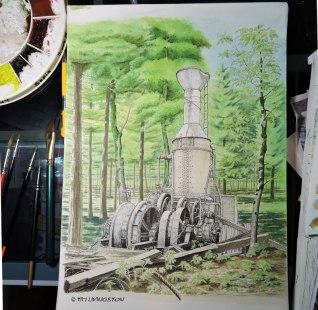 steam donkey, wip, logging