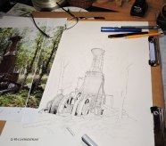 Steam Donkey, pen and ink, pen & ink, pen, drawing, watercolor, WIP, logging
