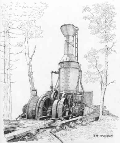 steam donkey, steam yarder, Willette Steam donkey, Willamette Iron Works, pen and ink, pen, drawing, watercolor, WIP
