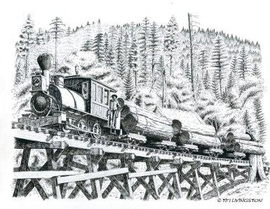 Uncle Sam, locomotive, steam engine, railroad logging, Diamond Match, logging, pen and ink