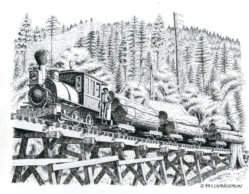 Uncle Sam, locomotive, steam engine, railroad logging, Diamond Match, logging, pen and ink