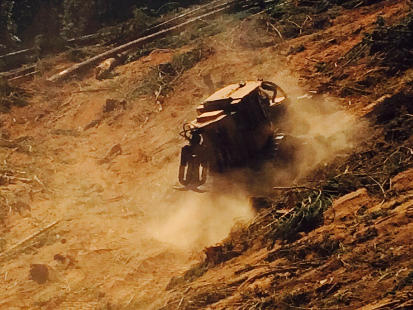 tractor, logging, dust