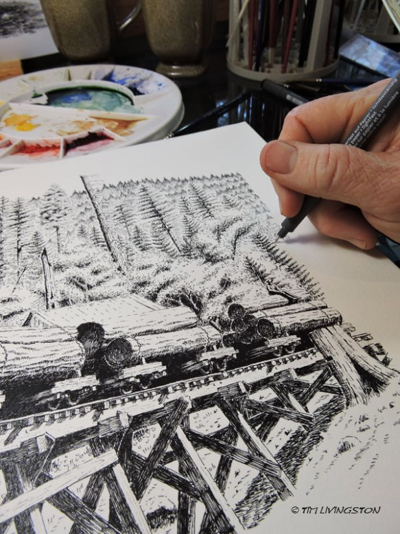 Pen and ink, print, multi-media, vintage logging