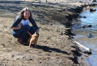 Mary and Phanny, our new pack member, on the banks of the Yellowstone River.