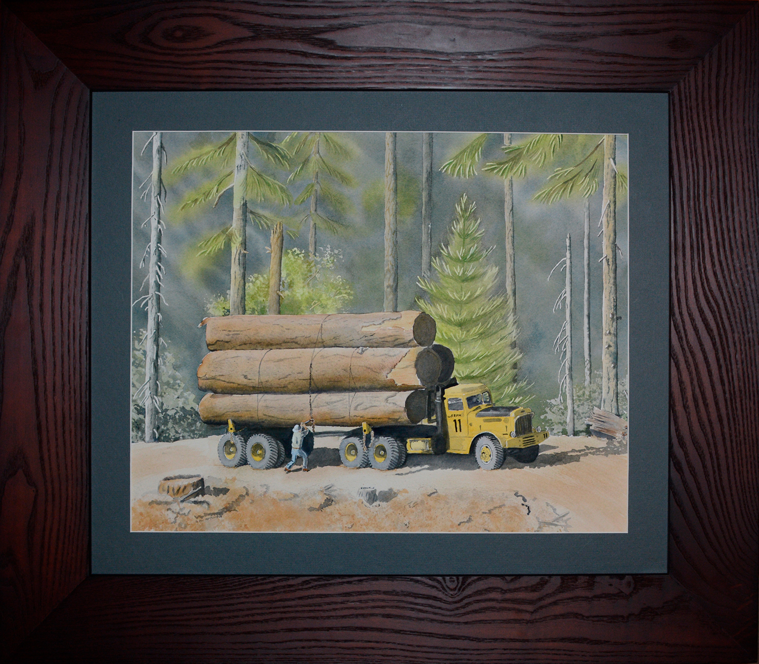 watercolor, MaryA Livingston, sneaking bliss, charity, auction, Sierra Cascade Logging Conference