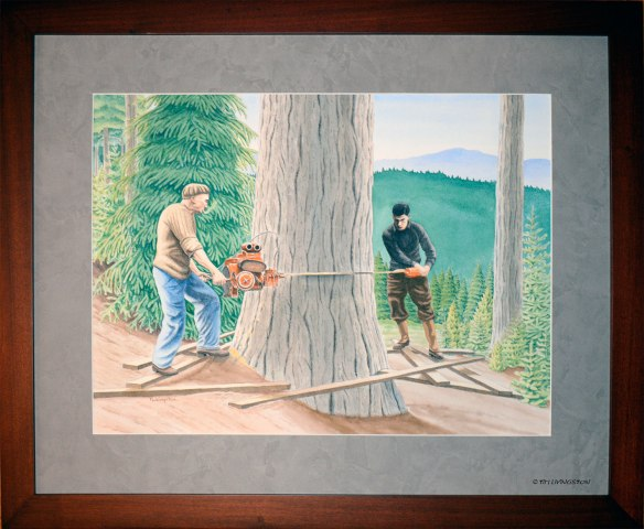 watercolor, pen and ink, mixed media, drawing, painting, logging, fellers, fallers, timber