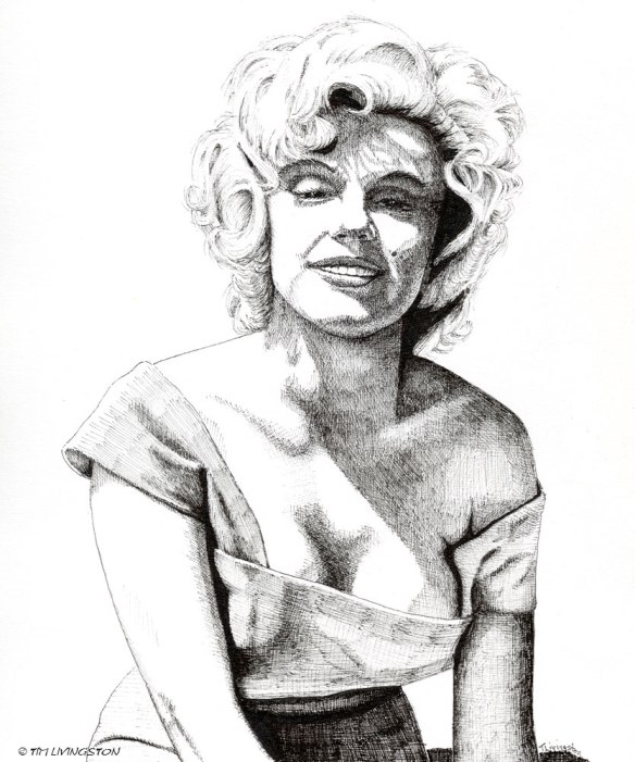 pen and ink, drawing, portrait, Marilyn Monroe