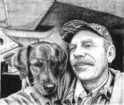 forester, golden retriever, drawing, pen and ink, ink, ink drawing, dog, forester artist