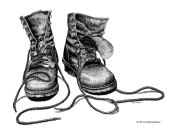 Forester, pen and ink, boots, forester artist, drawing, Timber In The Working Forest