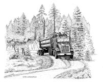 pen and ink, log truck, loggers, logging